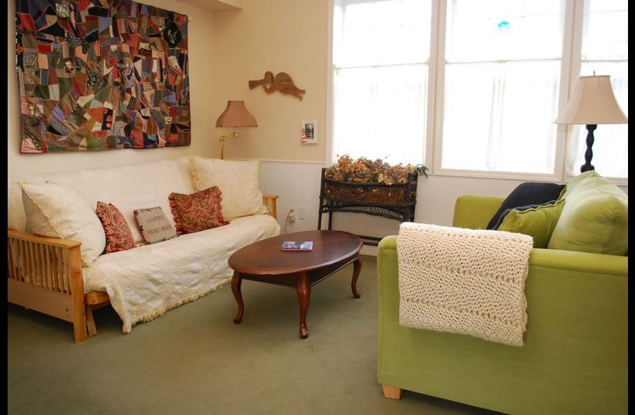 Conversation area with futon in Greatroom